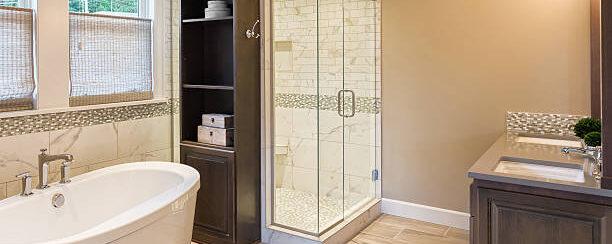 Modern bathroom, bathtub, and shower
